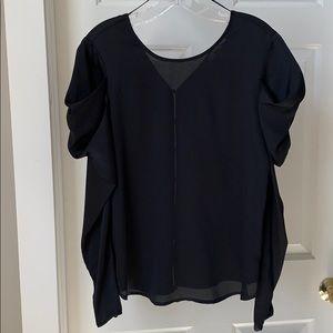 Puffed Sleeve Satin Long Sleeve Top